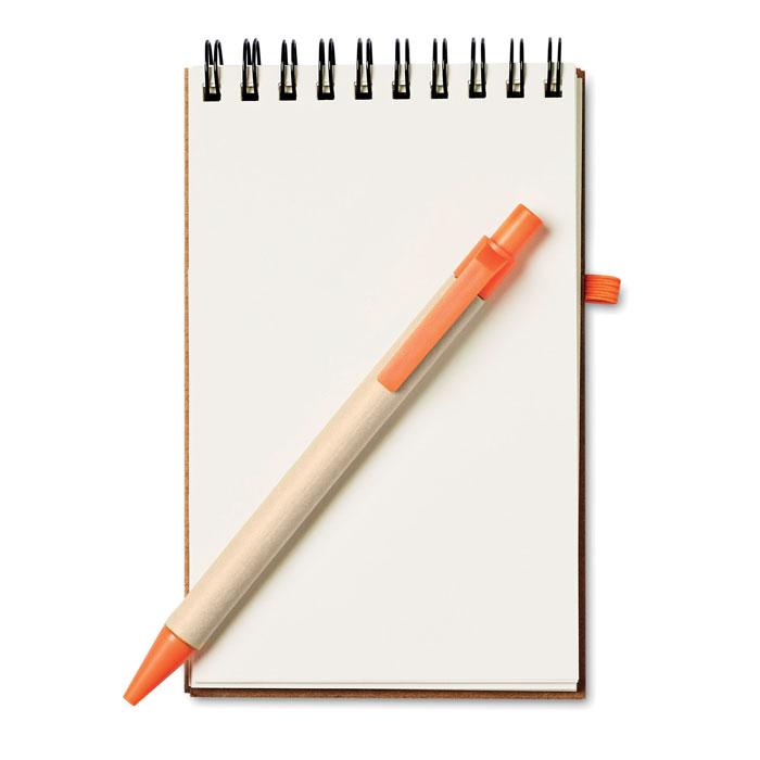 Блокнот с ручкой, оранжевый