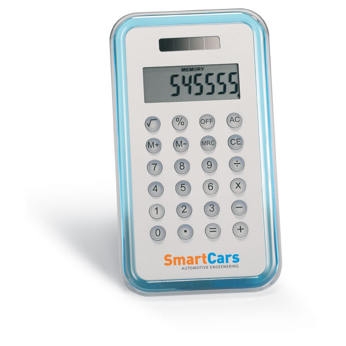 Калькулятор, прозрачно-голубой
