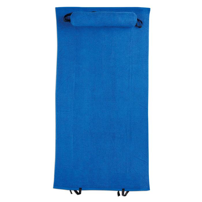 Полотенце пляжное с подушкой, королевский синий