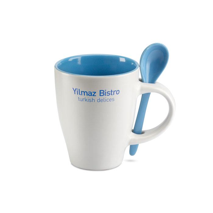 Чашка с ложкой, синий