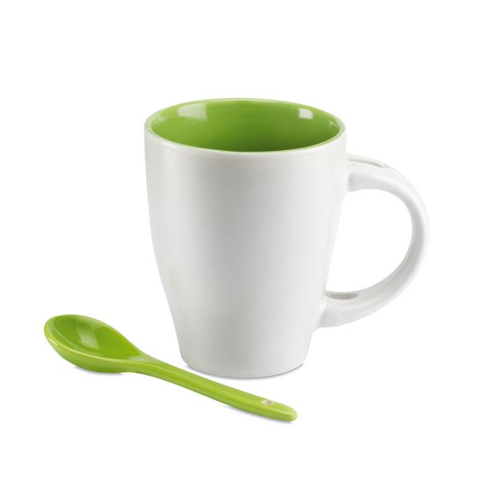 Чашка с ложкой, зеленый-зеленый