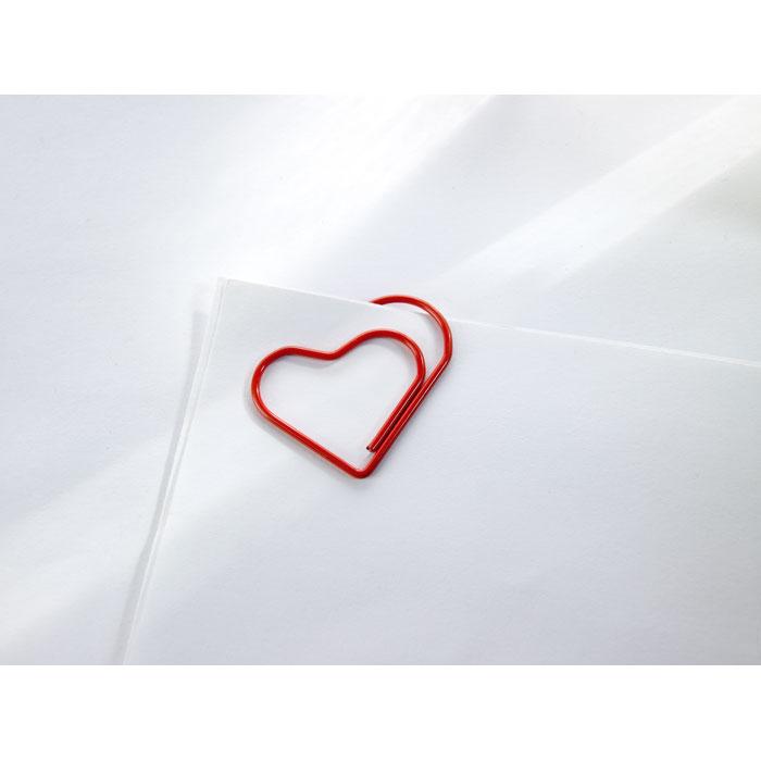 Скрепки- сердечки, красный