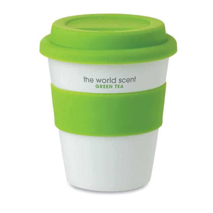 Стакан с крышкой из силикона, зеленый-зеленый