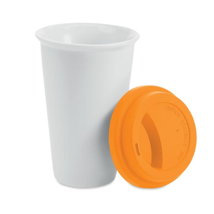 Кружка дорожная двустенная, оранжевый