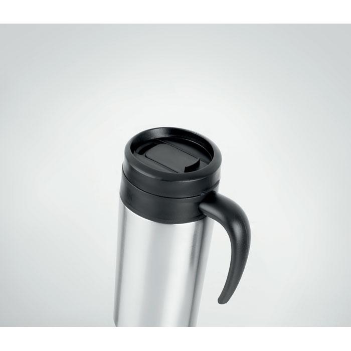 Термокружка с ручкой, тускло-серебряный