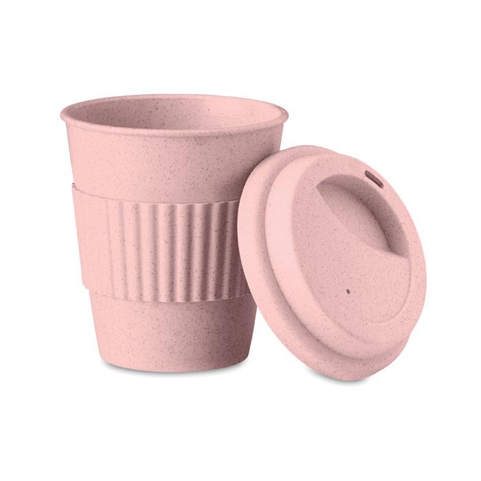 Термокружка из бамбука, розовый