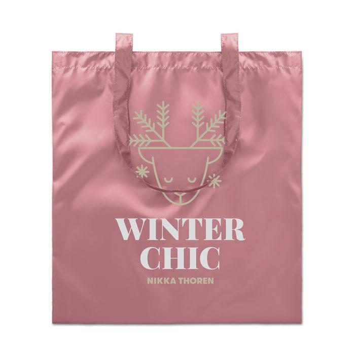 Сумка шоппер блестящая, розовый