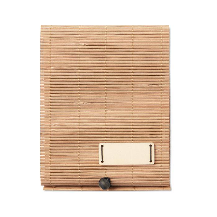 Блокнот бамбуковый с ручкой, древесный
