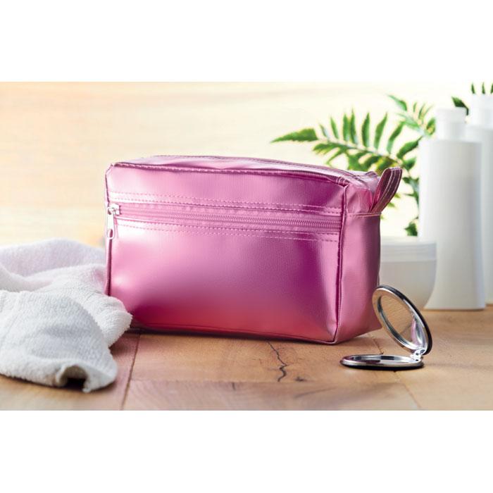 Косметичка из ПВХ блестящая, розовый