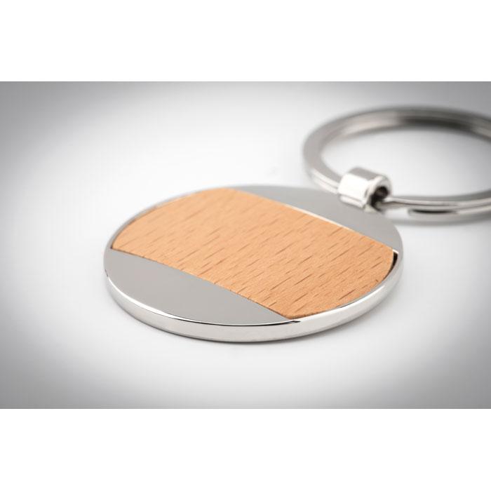 Брелок для ключей круглый, древесный