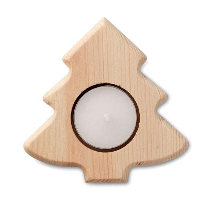 Подсвечник в форме елки, древесный
