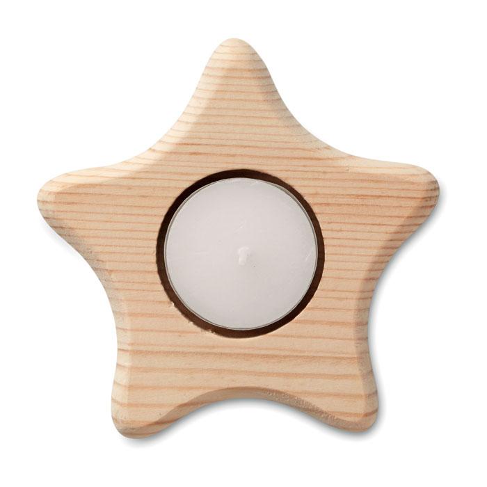 Подсвечник в форме звезды, древесный