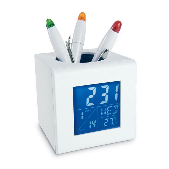 Подставка для ручек-метеостанцияKC6464-3, бело-голубой