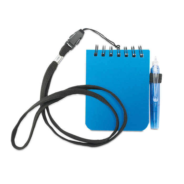 Блокнот с ручкой на шнурке, синий