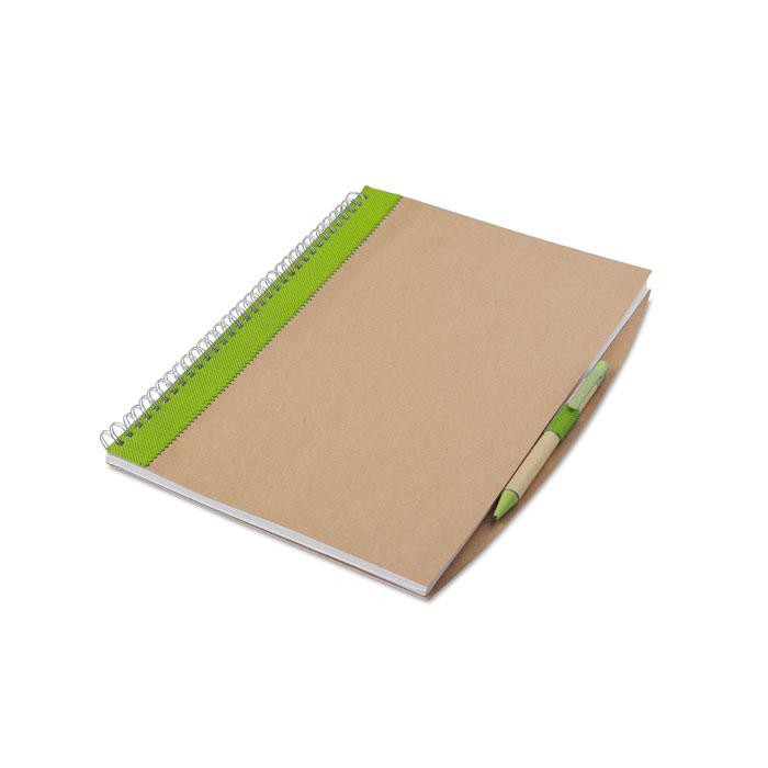 Блокнот с ручкой, лайм