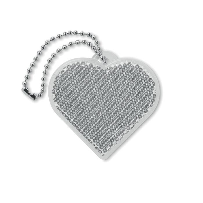 Светоотражатель в форме сердца, белый